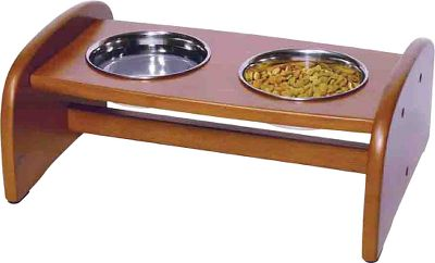Hunting Allow your pet to feast in peace and style. This supper station is constructed of beautiful hardwood, making it a welcome addition to any dcor. Its nonskid feet keep it firmly in place on smooth kitchen floors. Includes two 3-cup capacity stainless steel bowls. Assembles quickly and easily. Dimensions: 16 L x 11-1/2 W x 6-1/2 H. Weight: 4.6 lbs. Color: Stainless Steel. - $14.99