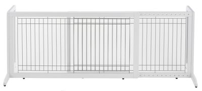 Hunting Each Pet Gate is self-supporting, requires no installation, and can be set up just about anywhere in less than a minute. The side supports fold flat against the gate for convenient storage and easy transport. Because these gates have rubber feet, you neednt be concerned about scuffing or scratching your floor. Pet Gates have an attractive hardwood finish that wont detract from your homes decor. They adjust in width so that you can position them in doorways, hallways, at the top or bottom of a stairway, or even place them against a wall to create a temporary kennel. Dimensions: 20.1H x 39.8 to 71.3W x 17.7D. Weight: 16.5 lbs. Color: White. Color: White. - $112.49