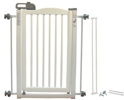 Hunting Boasting a unique tension-mount design, the One-Touch Pet Gate attaches effortlessly to 28.3 to 35.8-wide doorway and hallway openings to keep your pets safely confined. A 16-1/4-wide gate door opens in both directions, so your can move from room to room, while a one-touch handle provides simple, one-handed opening, closing and locking. Crafted of durable, eco-friendly, sustainable rubberwood. Rubber Stoppers protect wall surfaces. Durable 5/8 spindles with 1-1/2 space between. Sturdy 1-5/8 step-over bar. Recommended for dogs 8-44 lbs. Includes instruction manual. Dimensions: 34.6H x 28.3 to 35.8W. Colors: Autumn Matte, White. Color: Autumn Matte. - $129.99