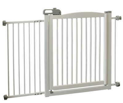 Hunting Boasting a unique tension-mount design, the One-Touch Pet Gate 150 attaches effortlessly to doorway and hallway openings to keep your pets safely confined. A 23-wide gate door opens in both directions, so you can move from room to room, while a one-touch handle provides simple, one-handed opening, closing and locking. Crafted of durable, eco-friendly, sustainable rubberwood. Rubber Stoppers protect wall surfaces. Three width configurations at 36, 48 and 60. Durable 5/8 spindles with 1-1/2 space between. Sturdy 1-5/8 step-over bar. Recommended for dogs 8-44 lbs. Includes instruction manual. Dimensions: 34.6H x 2D. Colors: Autumn Matte, White. Color: Autumn Matte. - $219.99