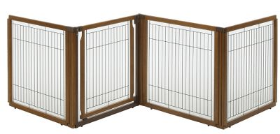 Hunting A freestanding pet gate, room divider and pet pen in one, the award-winning Convertible Elite Pet Gate keeps your pet safe, comfortable and secure without sacrificing function or style. Each panel locks securely in place at 90 and 180 angles with a specially designed cap for stability. Lockable gate door lets you move freely from room to room with ease. Crafted of eco-friendly, sustainable rubberwood and sturdy seven-gauge wire for long-lasting durability. 1-1/8 space between wire slats. Easy to assemble. Instructional manual included. Recommended for small- to medium-size dogs 8.8 to 40 lbs. To avoid damage to product, do not move panels while caps are on. Available: 4-Panel: 31.5H x 130W x 0.8D. 6-Panel: 31.5H x 197.5W x 0.8D. Size: 4 PANEL. Type: Pet Crates. - $249.99