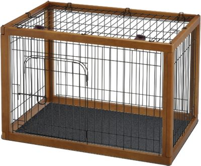 Hunting A durable, eco-friendly cage that keeps your pet safe, comfortable and secure without sacrificing function or style. A slide-locking door and wire top provides easy access to your pet, while keeping them secure. Removable floor tray protects your floor against scratches or spills. Pen is crafted of beautiful, sustainable rubberwood for a lifetime of durability. Thick seven-gauge wire. 1-1/4 space between wire slats. Wire door is 16-1/4H x 13-1/4W. Recommended for dogs 8-44 lbs. Some assembly required. Includes instructional manual. Imported. Dimensions: 23.8H x 35.4W x 24D. Color: Autumn Matte. Color: Autumn Matte. - $219.99