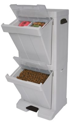 Hunting An all-in-one solution for storing your pets food, treats toys and accessories. Two storage bins with snap-lock lids lock in odors and freshness, while keeping pests out. Bottom bin with foot pedal provides simple, hands-free access to food. Convenient side hooks hold leashes and bags. Food bin holds up to 15 lbs. of dry food. Comes with a handy 1-1/2-cup food scooper. Easy to assemble. Includes instructional manual. Cleans with mild soap and water. Dimensions: 33.9H x 16.7W x 12.8D. - $74.99