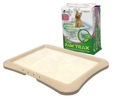 Hunting The Paw Trax line of products are must-haves for new pet parents, offering crucial training tools for both puppies and senior pets. Paw Trax Super-Absorbent Doggy Pads absorb moisture, help control pet odor and dry out fast. The durability of the doggy pad is due to a unique four-layer design: The first layer is a quilted pad surface that wont fall apart, even when wet; the second layer is an absorbent sheet that keeps moisture from the surface; the third layer is a gel surface that reduces odor and moisture; and the fourth layer is polyethylene plastic that prevents moisture seeping through to the floor. Super-Absorbent Doggy Pads are leakproof, and they can be used two to three times, depending on the size of your pet. The Paw Trax Training Tray boasts a snap-in design that holds the Paw Trax Super-Absorbent Doggy Pads firmly in place. Itll keep your pup from chewing on the pads and adds additional stain, odor and floor protection. Rubber feet keep the tray from sliding on floors.Available: Doggy Starter Kit Includes a 12 Doggy Pads and one Tray. 100-piece Bundle Kit Includes 100 Doggy Pads. 200-piece Bundle Kit Includes 200 Doggy Pads. 50-piece Pack Kit Includes 50 Doggy Pads and one Tray. 8-piece Training Kit Includes seven starter Doggy Pads and one Tray. - $34.99