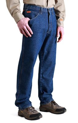 RIGGS WORKWEAR by Wrangler Flame-Resistant Relaxed Pants have a caloric rating of 23.7 and meet HRC 2 standards. With the room2move fit in seat, thighs, knees and bottom openings, they feel like your favorite pair of jeans. Arc-resistant button waistband closure with concealed inner tack reduces heat conductivity. Extra-deep 13 flame-resistant front pockets. Triple-needle stitching ensures rugged durability. Safety orange outside ID for high visibility. Reinforced back pockets. Oversized watch pocket. 1/2 x 2-1/4 belt loops. Imported. Inseams: 30, 32, 34. Even waist sizes: 30-44. Color: Denim. Size: 34. Color: Denim. Gender: Male. Age Group: Adult. Material: Denim. Type: Pants. - $55.00