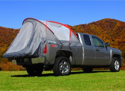 Camp and Hike These tents offer the simplicity of no guy lines, the comfort of a dry, level truck bed and the largest interior room of any truck tent on the market. Its floorless design offers fast, easy setup without removing anything from the bed. Color-coded poles and pockets for hassle-free assembly. It secures with heavy-duty nylon straps and buckles that wont harm truck finishes. Heavy-duty nylon tent body. Waterproof rain fly keeps you dry. Sky-view vent for ventilation, extra light and the option to sleep under the stars. Interior features two gear pockets, and lantern hanging hook. Glow-in-the-dark zipper pulls. Includes extra-large stuff sack with convenient sewn-in assembly instructions. All models sleep two adults. Imported. Available: Full-size long bed truck tent 8 ft. Full-size standard bed truck tent 6.5 ft. Full-size short bed truck tent 5.5 ft. Mid-size long bed truck tent 6 ft. Mid-size short bed truck tent 5 ft. Compact-size truck tent 6 ft. Type: Truck/SUV Tents. - $179.95