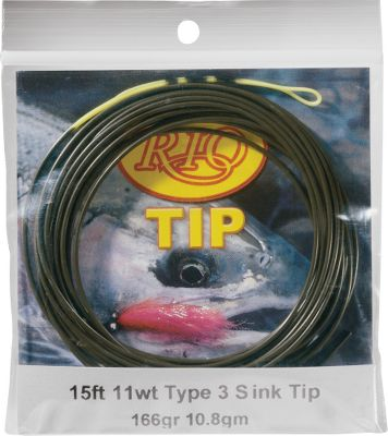 Flyfishing Attach this 15-ft. sink tip to the end of your line to sink your flies to specific depths. Available: Type 3. Sizes: 4 wt.-12 wt. RIO 15-ft. Sink Tip Type 3 LineSize BodyLength FrontTaperLength TipLength HeadWeight 4 Wt., 61 gr., 3.9 gm, 4.1 gr./ft. 12.5 2 0.5 61 5 Wt., 73 gr., 4.7 gm, 4.2 gr./ft. 12.5 2 0.5 75 6 Wt., 84 gr., 5.5 gm, 5.6 gr./ft. 12.5 2 0.5 84 7 Wt., 95 gr., 6.2 gm, 6.3 gr./ft. 12.5 2 0.5 95 8 Wt., 109 Size: 7. - $12.88