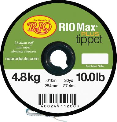 Flyfishing Rio's most abrasion-resistant tippet matches incredible strength with medium stiffness for superior turnover. A slick coating makes it easy to tie strong knots. Excellent for fishing streamers and saltwater. 30-yd. spools. Available:6 lb.8 lb.10 lb.12 lb.15 lb.20 lb.25 lb.30 lb. - $3.88