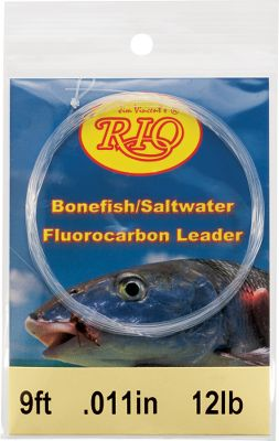 Fishing Fishing the clear saltwater flats calls for the invisibility and high abrasion resistance of this 100% fluorocarbon. Easily spooked bonefish won't be able to see the line when you strip it in front of their noses. Per each. 9 ft. Sizes: 8 lb., 10 lb., 12 lb., 16 lb., 20 lb. Size: 12LB. Color: Clear. Type: Saltwater Leaders. - $12.95