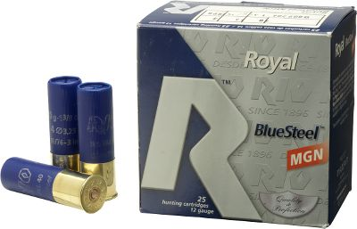 Hunting Rio Royal BlueSteel is loaded with perfectly spherical steel shot for use where regulations call for lead-free shotshells. Its ballistically engineered to retain energy down range and generates less pressure, a more consistent pattern and better efficiency than competing brands. 25 shells per box, 10 boxes per case. - $94.99