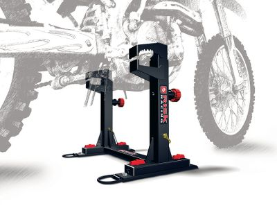 Fitness This anchoring system securely holds your motocross bike in your trailer without the use of tie-down straps, floor anchors or wheel chocks. It takes an enormous amount of pressure off the fork seals during transit, and frees up valuable space in your trailer, making more room for other motorcycles, bikes and gear. Remove it quickly from the trailer floor by unscrewing the four thumb screws, leaving only the low-profile mounting plates. Each plate has a D-ring for additional anchor points on your trailer floor.Dimensions: 20H x 10W x 9D.Weight: 20 lbs. Type: Trailer Accessories. - $169.99