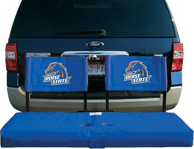 Camp and Hike A great way to show your school pride and your love for the outdoors, the Hitch Seat Cover works exclusively with the Rivalry Tailgate Hitch Seat (54 x 20). Made of tough 600-denier polyester, it slips right over the seat and fastens into place with Velcro closures. Features two built-in cup holders and includes a backrest and carry bag. Made in USA.Available in various collegiate teams. Type: Camp Chairs. Style Boise State. - $99.99