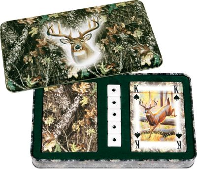 Hunting This playing card and dice set comes in a unique, felt-lined gift tin with embossed lid. The two decks of cards sport Mossy Oak Break-Up camo on one side and a corresponding deer image for the number of the card; 5 card has a 5-point buck etc. Five dice are included. Color: Camo. - $14.99