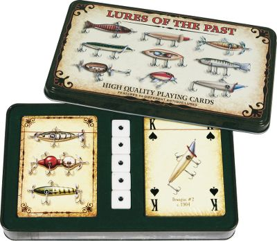 Fishing This playing card and dice set provides the needed items to play a multitude of games. The 54-card deck illustrates antique fishing lures from the 1800s to 1940. - $14.99
