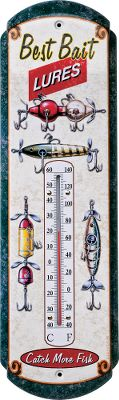 Hunting Nostalgic vintage tin outdoor thermometer is perfect for the cabin or the house. Keep track of the temperature at a glance. For indoor or outdoor use. Made of metal with a fade-resistant finish. Reads in Celsius and Fahrenheit. Imported. 17H x 5W. Styles: Buck, Antique Fishing Tackle, Shotshells, No Trespassing, We Dont Dial 911, Due 2 Price Increase. Gender: Male. Age Group: Adult. Type: Thermometers & Barometers. - $9.99