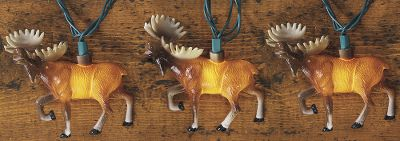 Hunting There's nothing like the image of a moose to make one immediately think of the north country. This majestic member of the deer family will look great illuminating your home, cabin or campsite and help you enjoy recollections of the outdoors. There are 10 moose per strand. Length: 10 ft. - $19.99