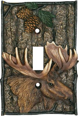 "Hunting This moose-and-pine cone single switch plate enhances the dcor of any outdoor-themed room. Beautifully hand-painted polyresin. Imported.Dimensions: 5""H x 3-1/4""W x 1/4""D. Type: Switch Covers. - $9.99"
