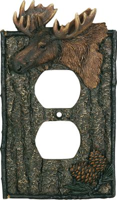 "Hunting This moose-and-pine cone duplex receptacle cover enhances the d cor of any outdoor-themed room. Beautifully hand-painted polyresin. Imported.Dimensions: 5""H x 3-1/4""W x 1/4""D. - $9.99"