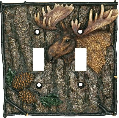 Hunting This moose-and-pine cone double switch plate enhances the dcor of any outdoor-themed room. Beautifully hand-painted polyresin. Imported. Dimensions: 5 H x 5 W x 1/4 D. Type: Switch Covers. - $11.99