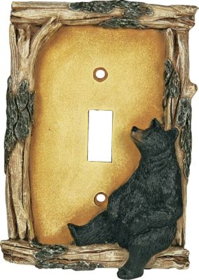 Hunting Whimsical bear electrical covers are a great way to dress up your cabin or lodge. Bear covers feature a log border with its bark still intact. Hand-painted poly-resin construction with lifelike texturing. Hardware included. Imported. Dimensions: 7.5 L x 5 W x 2 D. - $9.99