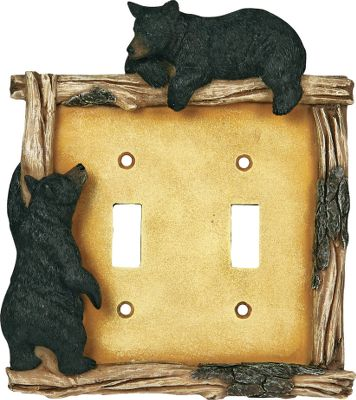 Hunting Whimsical bear electrical covers are a great way to dress up your cabin or lodge. Bear covers feature a log border with its bark still intact. Hand-painted poly-resin construction with lifelike texturing. Hardware included. Imported. Dimensions: 9 L x 6.5 W x 2 D. - $11.99