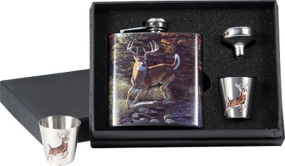 Hunting Always handy, this gift set comes with a stainless steel flask, two shot glasses and a funnel for loading your beverage of choice. A whitetail scene by Al Agnew wraps around the flask, while a deer silhouette is on each glass. Each set comes packaged in a gift box. Flask capacity: 6 oz. Color: Stainless. - $19.99