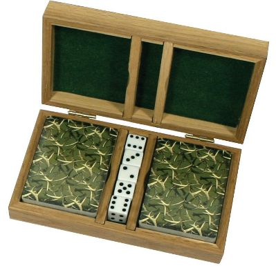 Hunting This unique playing-card set comes in a laser-etched wood box. The cards sport a corresponding deer image for the number of the card; 5 card has a 5-point buck etc. Five dice are included. - $9.88