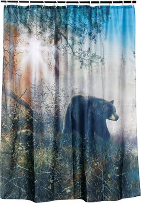 Hunting This shower curtain is the ideal touch in any outdoorsman's bathroom. 100% polyester construction resists fading, sheds water and is easy to clean. Includes 12 plastic rings. Imported. Dimensions: 70W x 72H.Available: Camouflage, Bear, Deer, Lures. - $14.88