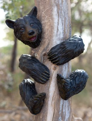Camp and Hike Add some whimsy to your world with these fun characters. Hand-painted, poly-resin bear or raccoon attaches to trees, log posts or beams with hidden, flush-mount hangers on the back of each piece. Rattlesnake fits any standard 4x4 post. All are approximately 14 tall. Available: Black Bear, Raccoon, Rattlesnake. - $24.88