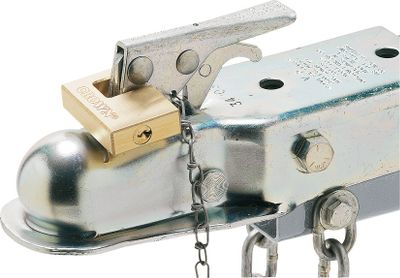 Motorsports Keep your trailer secure while youre miles away from your towing rig with the strength of nickel-plated steel and brass. Both the Receiver Hitch Lock and Trailer Coupling Lock have a dust cover to keep gravel and dust out. Available as a set that is keyed alike or trailer lock only. Available: Lock set with receiver Hitch lock and Trailer lock: 9/32 diameter, 1-1/8 shackle length Brass coupler lock only Type: Replacement Propellers. - $17.99