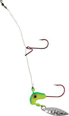Fishing Double your chances of hooking a fish and prevent tangles at the same time. The Walleye Stacker features the Road Runner Glow Head and a StandOUT hook above the jig. Walleye Stacker is rigged on 10-lb. line with a No. 2 StandOUT hook. Just add bait. Per each. Size: 1/4-oz. Colors: (622)Lime/Chartreuse, (635)Bubble Gum, (641)Chartreuse/Orange. Color: Orange. Type: Bait Rigs. - $2.49