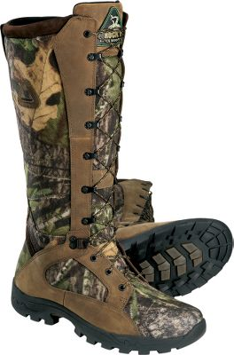 Hunting Serious hunters know the value of protecting their feet whether its a rugged day in the field, the threat of venomous snakes or both. Constructed with ProLight outsoles that are lightweight and flexible, so the boots wont feel bulky, heavy or constrictive. Best of all, youll enjoy dry feet in Rockys waterproof protection. Soft, split leather and lightweight 900-denier nylon conform to your feet for maximum comfort. A mesh moisture-management system prevents blisters and hot spots from forming. The AchillesFlex system forms a joint that collapses and expands for mobility, while a padded section at the ankle supports your gait over rough and unseen terrain. Youll get a secure fit in these 16 boots with ankle lace-locks that use zip-cinch cords for tightening and loosening. Imported. Ht: 16. Avg. wt: 4.1 lbs./pair. Mens sizes: 8-13 medium and wide widths. Half sizes to 12. Camo patterns: Realtree XTRA. Size: 8.5. Color: Realtree Xtra. Gender: Male. Age Group: Adult. Pattern: Camo. Material: Leather. - $99.88