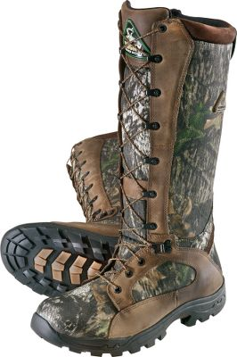 Hunting Rocky built these to be a lightweight, flexible alternative to most snake boots on the market. Youll feel the difference after a long hunt. A full 16 of fang-deflecting armor will put your mind at ease while hunting in snake country. ProLight BioMech outsoles keep you agile, while enhancing traction on uneven terrain. Full-grain leather and durable nylon uppers are backed by guaranteed Rocky waterproof construction. Side-zip for easy on and off. Imported. Height: 16. Average weight: 4.1 lbs. Mens sizes: 8-13 medium and wide widths. Half sizes to 12. Camo pattern: Mossy Oak Break-Up. Type: Snake Boots. Size: 8 1/2. Shoe Width: D. Color: Mossy Oak Break-up. Size 8 1/2. Width Medium. Color Mossy Oak Break-Up. - $129.88