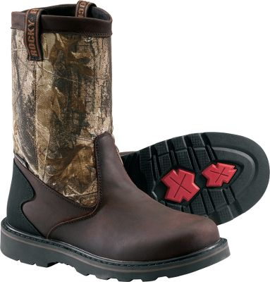 Hunting Full-grain leather and highly abrasion-resistant 900-denier textile uppers deliver strength, stability and long-lasting durability. Guaranteed Rocky waterproof construction keeps feet dry. Rugged Rocky rubber lugs offer sure-grip traction on rough, uneven terrain. Durable Goodyear welt construction for resoling. Imported. Height: 11.Average weight: 3.8 lbs./pair.Mens sizes: 8-13 medium and wide widths. Half sizes to 12.Camo pattern: Realtree AP. - $54.88