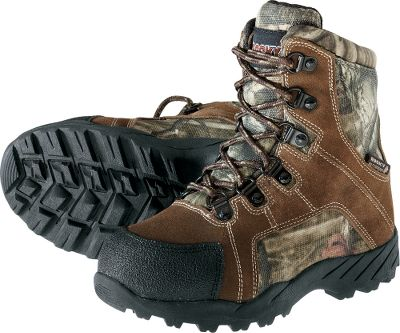 Hunting These boots are packed with enough features and toughness for adults, but sized for kids. They are made of durable split suede with 900-denier nylon uppers and keep feet dry thanks to Rocky guaranteed waterproof construction. Cold-weather protection is provided by 800-gram Thinsulate Ultra Insulation. High-abrasion toecaps and heel counters add long life to these high-wear areas. TPR rubber outsoles provide a sure grip on slick, difficult and uneven terrain. Imported. Kids sizes: 1-13 medium width. Camo pattern: Mossy Oak Break-Up Infinity. Size: 13. Color: Mossy Oak Infinity. Age Group: Kids. Pattern: Camo. Material: Nylon. Type: Boots. - $39.88