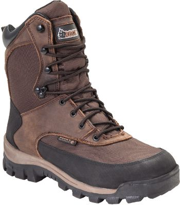 Hunting When winter throws its worst at your hunting season, youll be ready to stay in the field when youre wearing these heavy-duty, insulated, waterproof boots from Rocky. Heat-trapping layers of 800-gram Thinsulate Ultra Insulation blocks the cold and locks in warmth without weighing you down. Rockys exclusive waterproof construction forms an impenetrable waterproof barrier that seals out moisture but is breathable to keep the inside completely dry. The combination of rugged 900-denier nylon and heavy-duty full-grain leather ensures the uppers will stand up to season after season of wear in rough conditions. Rubber-armored heels and toes protect your feet and shield these high-wear areas from abrasion. The aggressive outsoles will keep you safely on the move through slick winter conditions. Imported. Height: 8. Average weight: 4 lbs./pair. Mens sizes: 8-13 D and EE widths. Half sizes to 12. Color: Brown. Size: 12. Color: Brown. Gender: Male. Age Group: Adult. Material: Leather. - $79.88