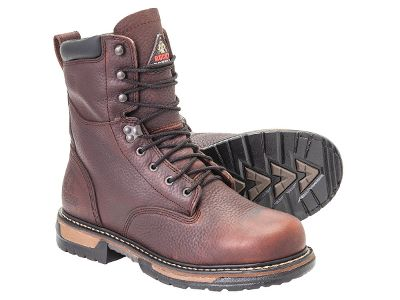 Theyre called the IronClads for a reason. Ribbed, tempered-steel shanks work with seven oil- and slip-resistant layers in the outsoles to make these boots extremely durable in challenging conditions. The lightweight EVA midsoles absorb shock and wont weigh you down as you work, reducing foot fatigue. Rocky Air-Port footbeds and polyurethane insoles create a double cushion that offers more give and spring. The steel shanks embedded in the outsoles provide support for your arches as well as create a solid work platform for your feet, regardless of the terrain youre working on. Rockys guaranteed waterproof construction keeps your feet dry in compromising weather. Leather uppers with padded collars. Imported. Average height: 8. Average weight: 5 lbs./pair. Mens sizes: 8-14 D and EE widths. Half sizes to 12. Color: Brown. Size: 10. Color: Brown. Gender: Male. Age Group: Adult. Pattern: Solid. Material: Leather. Type: Boots. - $154.99