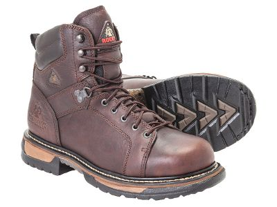 Theyre called the IronClads for a reason. Ribbed, tempered-steel shanks work with seven oil- and slip-resistant layers in the outsoles to make these boots extremely durable in challenging conditions. The lacing system extends nearly down to your toes for the ultimate perfect fit. The lightweight EVA midsoles absorb shock and wont weigh you down as you work, reducing foot fatigue. Polyurethane insoles create a double cushion that offers more give and spring. The steel shanks embedded in the outsoles provide support for your arches as well as create a solid work platform for your feet, regardless of the terrain youre working on. Rockys guaranteed waterproof construction keeps your feet dry in compromising weather. Full-grain leather uppers with padded collars. Imported. Height: 6. Average weight: 5 lbs./pair. Sizes: 8-14 D and EE widths. Half sizes to 12. Color: Brown. Size: 11.5. Color: Brown. Gender: Male. Age Group: Adult. Pattern: Solid. Material: Leather. Type: Boots. - $149.99