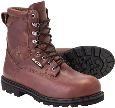 Make short work of tough jobs with these rugged, go-anywhere boots. Durable full-grain leather uppers have waterproof, breathable GORE-TEX membranes, keeping your feet warm and dry while you work. Steel toes offer impact and compression protection, while slip-resistant Vibram outsoles deliver superior traction. Bulletproof Goodyear welt construction holds everything together, creating nearly indestructible boots that are tough enough for the most rigorous jobs on earth. Imported.Height: 8.Average weight: 3.2 lbs./pair.Mens sizes: 8-14 D and EE widths. Half sizes to 12.Color: Brown. Type: Work Boots. Size: 9. Shoe Width: D. Color: Brown. Size 9. Width D. Color Brown. - $204.99