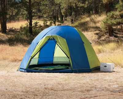Camp and Hike With a 14-ft. x 14-ft. base size, this spacious dome tent will comfortably sleep the whole family. The 1,000mm waterproof-rated rain fly includes two spacious vestibules at each door. With the rain fly off, the polyester mesh walls and roof make it a large airy screen room. Fiberglass poles coupled with a pin-and-ring system make it quick and easy to set up and keep it secure in the wind.Large mesh pocket over each T-style door. Duffel storage bag. Imported.Sleeping capacity: 10.Center height: 8.Floor size: 14 x 14.Weight: 38 lbs. - $139.88