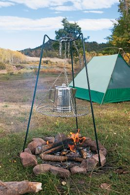 Camp and Hike Enjoy the timeless appeal of open-flame cooking. The 21-1/2-dia. chrome-plated steel grill can be adjusted up to 24 over any wood-fueled fire. Trivet top holds a coffee pot or water basin. Legs separate for storage. Imported. Type: Grills. - $38.69