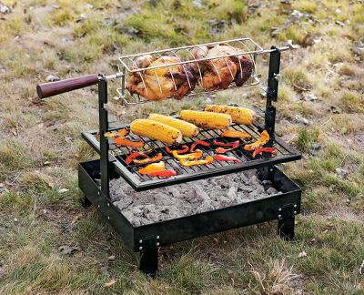 Camp and Hike This do-it-all outdoor cooking system includes a heavy-duty steel fire pan, adjustable grill grate and a hand-crank rotisserie. The thick steel fire pan is designed for both wood and charcoal fires, and it is strong enough to handle the weight of a Dutch oven. Adjustable welded-steel grill plate has a durable, baked-enamel finish. Chrome-plated rotisserie grill offers hand crank with four, quarter-turn settings. Rotisserie compartment adjusts three different heights to hold different types of meats. Imported.Dimensions: 19 3/4L x 15W x 18 3/4H. Weight: 18-1/2 lbs. - $125.88