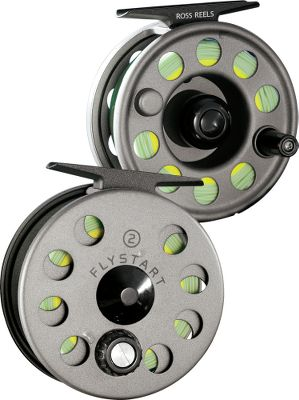 "Flyfishing Boasting a durable finish, Flystart reels are a great option for anglers who demand quality, but do not want to spend a fortune gearing up to fish. You'll be amazed with Ross' legendary precision-machined quality; reliable drag performance; and the improved, extra-durable finish. Each Flystart reel is built around a Ross-designed offset disc drag that will meet the expectations of even the most experienced angler. Pre-spooled outfits come with premium, American-made fly line, backing and a 9-ft. tapered leader everything you need to get started. Available in sizes covering everything from small streams to large rivers and lakes. Color: Titanium. Weight (oz.): 5.2. Type: Pre-Spooled Fly Reel. Reel Model: 1. Fly-Line Weight: 3-5. Diameter (in.): 3"". Capacity: 50 yds./20 lb./WF4. 1. - $80.00"