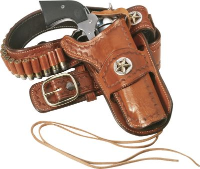 Set up a classic Western rig with this sharp-looking, suede-lined, vegetable-tanned, tooled-leather holster sporting the famed Texas star conchos. The holster is authentic with a safety loop for SA revolvers. Right hand only. Tooled belt, ammo, and handgun not included. Color of leather may vary due to tanning process. Holster Only.Gun size: 4-5/8, 5-1/2. - $99.99