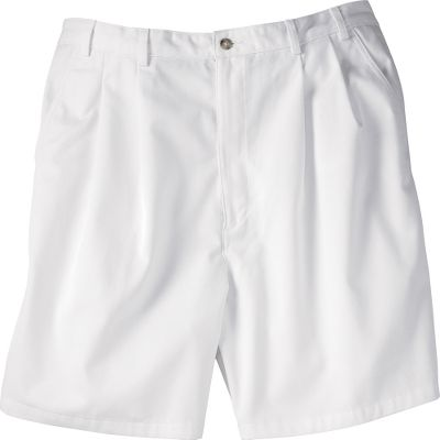 These classic-fit, double-pleated shorts offer wrinkle-resistant performance and a side-elastic waistband for a custom fit. Made of 100% cotton twill for softness and comfort. Quarter-top front pockets. Buttoned back slit pockets. Button closure with zippered fly. Imported.Inseam: 7-1/2.Even waist sizes: 44-56.Color: White. - $5.88