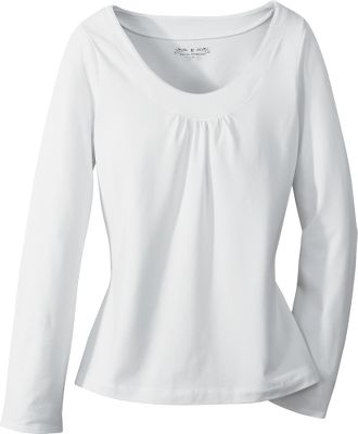 Entertainment An all-season wardrobe essential with a scoop neck and ruched accents. It's made of 58% cotton, 37% polyester and 5% spandex for a balanced mix of soft comfort, easy-care convenience and shape-holding durability. It also features quick-drying Dri-Xtreme technology and a UPF rating of 50. Imported.Sizes: S-XL.Colors: Charcoal, White, Slate, Blackberry. - $14.88