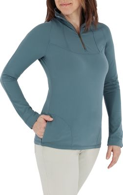 Entertainment Delivering exceptional comfort and a stretchable give, this high-performance knit is made of 6.5-oz. 91/9 nylon/spandex. This relaxed-fitting, quick-drying shirt is brushed on both sides for a velvety soft feel, and the spandex allows for a free range of motion. Pull the zipper up for extra warmth or down for quick ventilation. Zippered side pockets and thumb elastic inside cuffs. UPF rating of 50. Imported. Sizes: S-XL. Colors: Basalt, Planetarium, Tomato. - $24.88