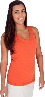 Entertainment Cute, comfortable Tank is the perfect all-season weight for layering or stand-alone wear. The mini rib-knit 93/7 cotton/spandex is garment washed for a super-soft feel and has a hint of stretch for freedom of movement. UPF rating of 30+. Trim fit. Imported.Center back length: 25.Sizes: S-XL.Colors: Apple (not shown), Chili, Dark Mulberry, Light Slate, White (not shown). Type: Tank Tops. Size: Medium. Color: Chili. Size Medium. Color Chili. - $14.88