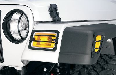 Motorsports Protect your headlights from debris. These guards are constructed of durable powder-coated steel for lasting performance. Includes pair of guards. Available:76-06 CJ/Wrangler, 87-95 Wrangler, 97-06 Wrangler Head Light Guard, '97-'06 Wrangler Turn Signal and Side Flare Light Guard Kit, 07-12 Wrangler, 99-04 Grand Cherokee, 05-10 Grand Cherokee. - $24.99