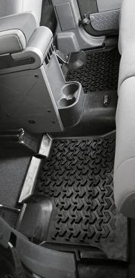 Motorsports Outfit your trucks flooring with the best protection. Unlike thinner floor mats, these durable, OEM-quality thermoplastic liners are injection-molded for extra thickness and a long-lasting finish. High retaining walls hold their shape in all weather conditions and boast three times the depth of other liners to better contain trapped water and mud. Exacting measurements ensure a custom fit. Self-sealing floor-hook attachment prevents dirt and moisture from passing through to the carpet while securing the liners to your vehicle. Raised nibs on the bottom keep the liners securely in place. Chevron-shaped raised pattern channels water and dirt away. Raised reinforced heel area prevents heel sticking and increases durability. One- or two-piece models depending on application. Dimensions: 13L x 17W. Colors: Tan, Gray, Black. Color: Black. Type: Cargo & Floor Mats. - $23.88